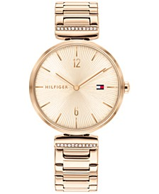 Women's Carnation Gold-Tone & Crystral Bracelet Watch 34mm