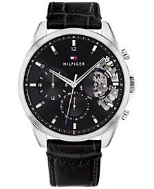 Men's Chronograph Black Leather Strap Watch 44mm