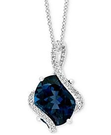 "EFFY® London Blue Topaz (5-5/8 ct. t.w.) & Diamond (1/6 ct. t.w.) 18"" Swirl Pendant Necklace in 14k White Gold"