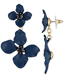Gold-Tone Crystal Double Flower Statement Earrings
