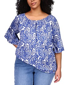 Plus Size Paisley Gathered Peasant Top