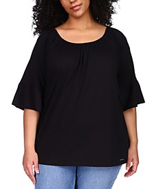 Plus Size Gathered Peasant Top