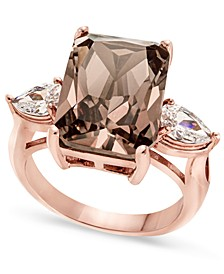 Fine Silver Plate, Gold or Rose Gold Plate Emerald-Crystal Ring, Created for Macy's