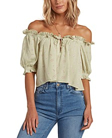 Juniors' Sunny Skies Off-The-Shoulder Top
