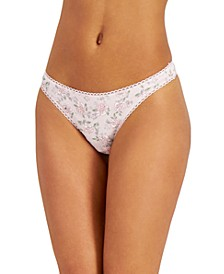 Women's Blossoms Pretty Cotton Thong Underwear, Created for Macy's