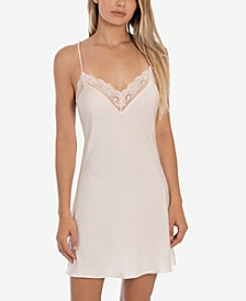 Lace-Trim Hammered Satin Chemise Nightgown