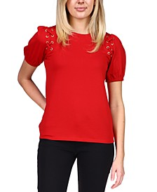 Lace-Up Grommet T-Shirt