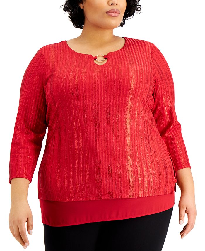 JM Collection - Plus Size Foiled Ribbed Tunic Top