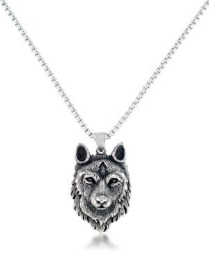 """Men's Wolf Head 24"""" Pendant Necklace in Stainless Steel"""