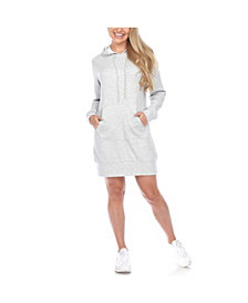 White Mark Women's Hoodie Sweatshirt Dress