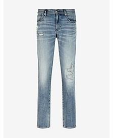 Men's Distressed Light Wash 5 Pocket Denim Jeans