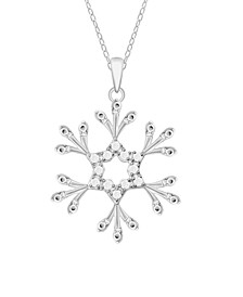 Diamond Snowflake Pendant Necklace (1/10 ct. t.w.) In Sterling Silver
