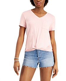 Juniors' Twist-Front Pocket T-Shirt