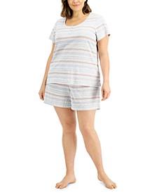 Plus Size Henley & Shorts Pajama Set, Created for Macy's