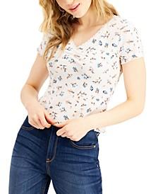 Juniors' Lace-Trim Ruched-Front T-Shirt