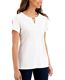 Plus Size Chain-Trim Top, Created for Macy's
