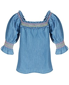 Baby Girls Smocked Denim Cotton Top, Created for Macy's
