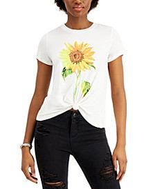 Juniors' Sunflower-Print Knot-Front T-Shirt