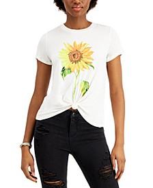 Juniors' Sunflower-Print Knot-Front T-Shirt