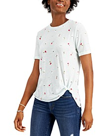 Juniors' Side-Knot Floral-Print T-Shirt