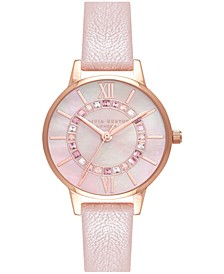 Women's Wonderland Blush Leather Strap Watch 30mm