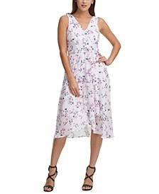 Floral-Print Faux-Wrap Dress