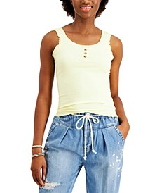 Juniors' Ruffled Ribbed Tank Top