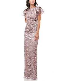 Flutter-Sleeve Embroidered Gown
