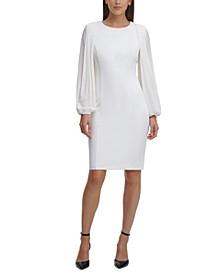 Shear Balloon-Sleeve Dress