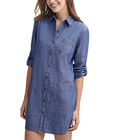 Stitched Chambray Shirtdress