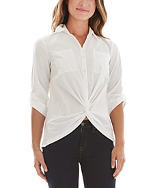 Juniors' Twist Front Button-Up Top