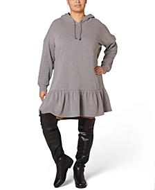 Juniors' Plus Size Fleece Hooded Dress