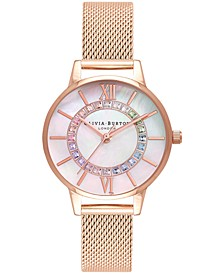 Women's Wonderland Rose Gold-Tone Stainless Steel Mesh Bracelet Watch 30mm