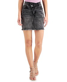 Juniors' Asymmetrical Denim Mini Skirt