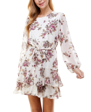 Juniors' Floral Belted Tiered Dress