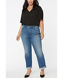 Women's Plus Size Relaxed Straight Jeans with Roll Cuffs