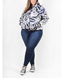 Matte Satin Plus Size Women's Puffer Jacket with Hood