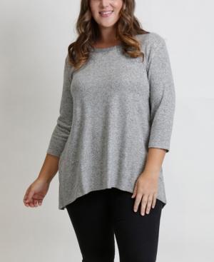 Women's Plus Size Cozy Button Back Top