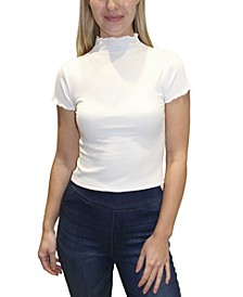 Juniors' Ribbed Mock Neck Top