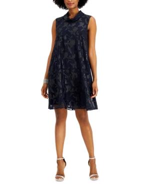 Roll-Collar Metallic Jacquard Dress