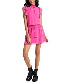 Smocked-Neck Flutter-Sleeve Dress