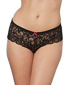 Women's Low-Rise Crotchless Boyshort with Satin Bow Details