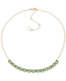 """Colored Oval Crystal Statement Necklace, 13"""" + 3"""" extender"""