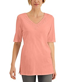 Elbow-Sleeve Lace-Trim Tunic, Created for Macy's