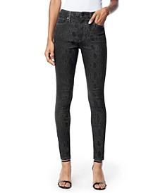 Charlie Snake-Embossed Skinny Ankle Jeans