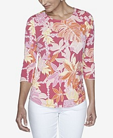 Women's Plus Size Knit Floral Puff Top