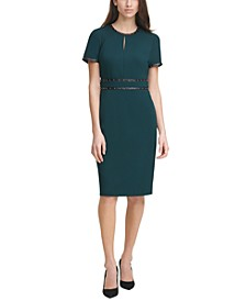 Scuba Crepe Studded Leather-Trim Sheath Dress