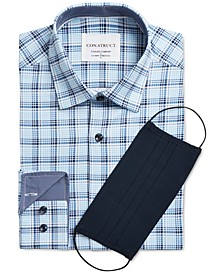 Con.Struct Men's Slim-Fit Cooling Comfort Performance Stretch Plaid Dress Shirt with Pleated Face Mask, Created for Macy's