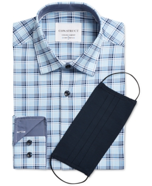 Con. Struct Men's Slim-Fit Cooling Comfort Performance Stretch Plaid Dress Shirt with Pleated Face Mask
