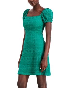 Puff-Sleeve Lace A-Line Dress